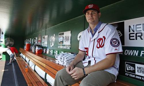 Washington Nationals first-round pick Lucas Giolito,18, smiles in the Nationals' dugout in Washington