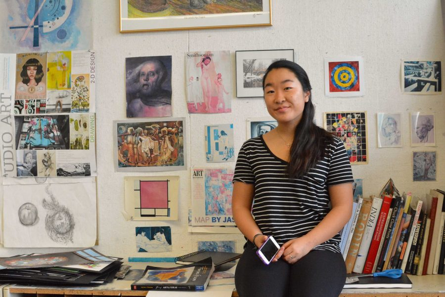 Natalie Choi '18 spends time in her Drawing and Painting classroom in the Feldman-Horn Studios  Credit: Sophie Levy/Chronicle