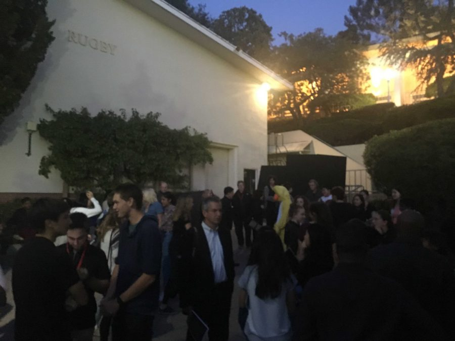 The audience at the Saturday night playwrights festival evacuated twice after the fire alarm was pulled. Credit: Sammi Handler/Chronicle