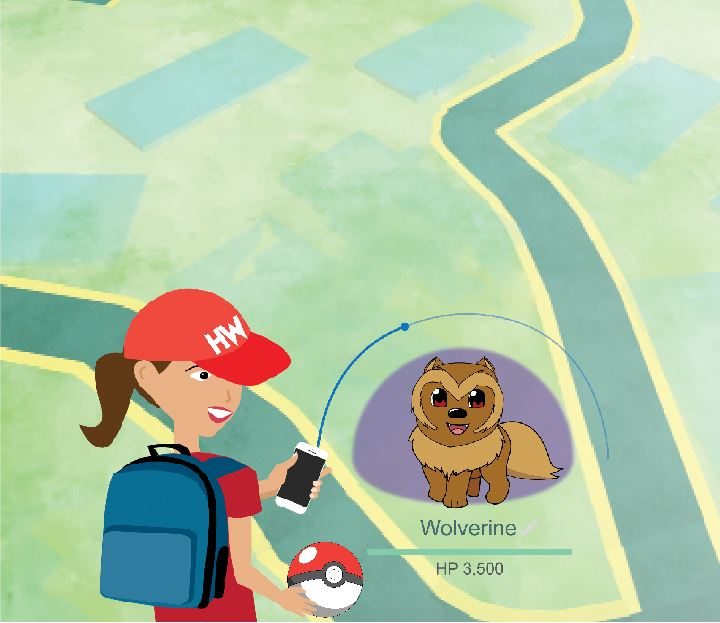 Illustration by Alena Rubin;  Map Image Taken From Pokémon Go App, Graphics Assisted by Nicole Kim