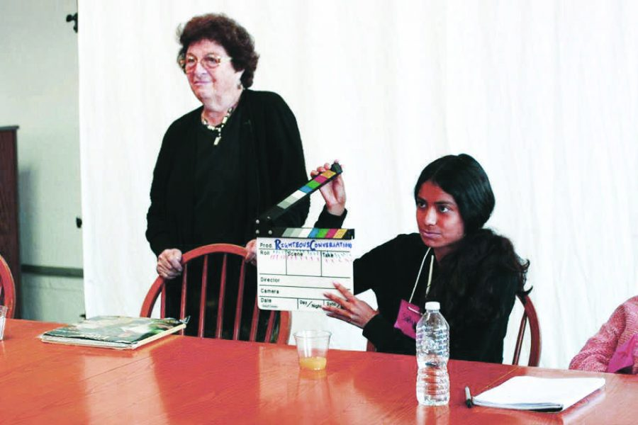 Right on: Participants for The Righteous Conversations Project direct their film and begin a scene during a digital workshop.  Printed with permission of Rachel Fiddler