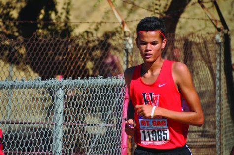 Dustin Jones '17 competes in the 69th annual Mt. SAC Invitational on Oct. 21.  Both the boys and girls qualified for the State Finals with their fourth and fifth-place finishes in the CIF Division IV Finals on Nov. 19.  State finals begin Nov. 26. Credit: Joe Levin/Chronicle