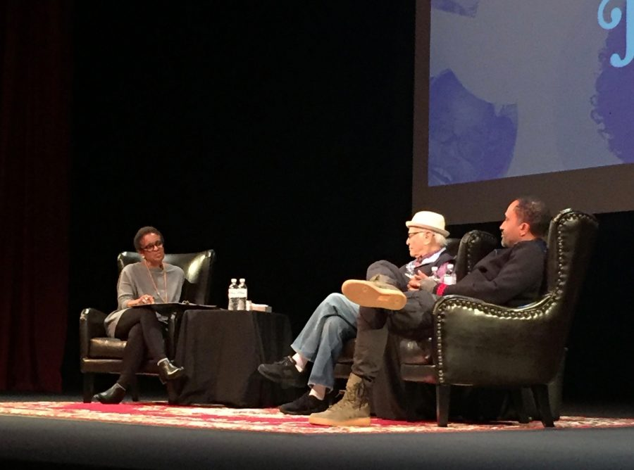 Moderator Winifred White Neisser questions Norman Lear (Madeline '13) and Kenya Barris (Leyah '19) at the