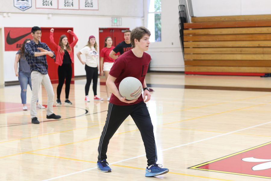 Ryan Wixen plays dodgeball as part of the Festival to Spring on March 30. Credit: Jenny Li/Chronicle