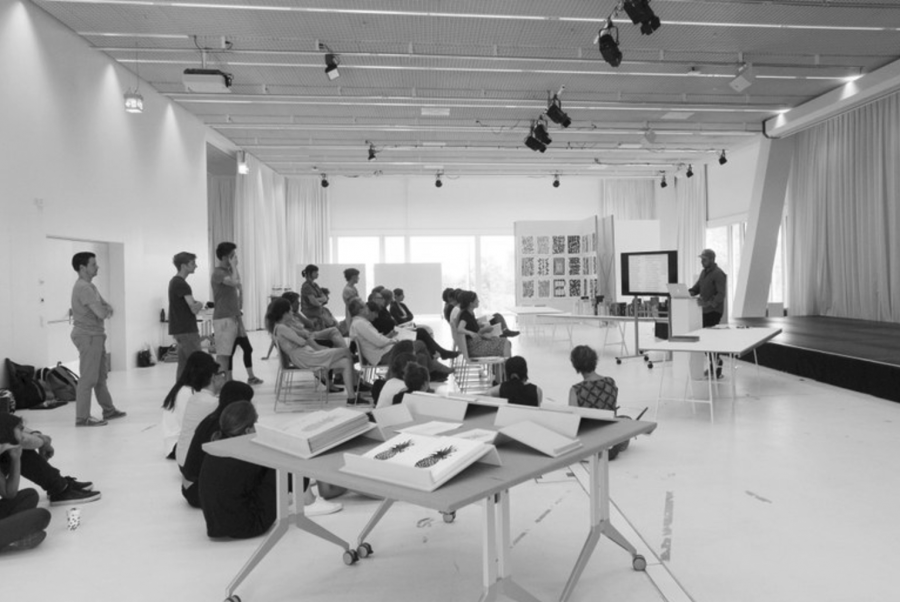 Students at the Basel School of Design listen to a presentation. Printed with permission of Nicole Kim '18