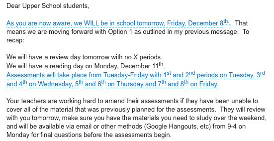 School reopens after two-day closure; Ross changes December Assessment schedule