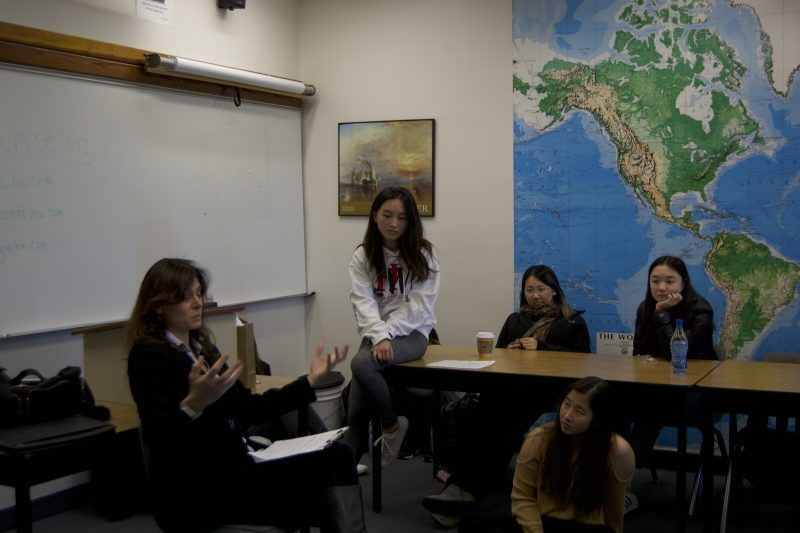 Therapist Jacqueline Liebman-Gentile answers a student's question during the discussion. Credit: Saba Nia/Chronicle