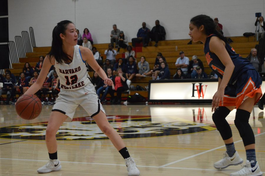 Ashlee Wong '18 controls the ball in a 69-52 victory over Chaminade. Credit: Sophie Haber/Chronicle