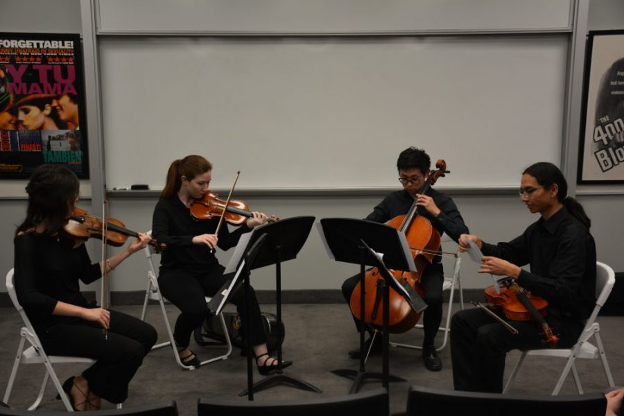 Members of the American Youth Symphony Orchestra performed during break in Ahmanson. The performance was followed by a Q&A session and discussion of immigration. Credit: Kendall Dees/Chronicle