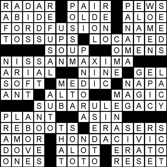February 2019 crossword puzzle answers