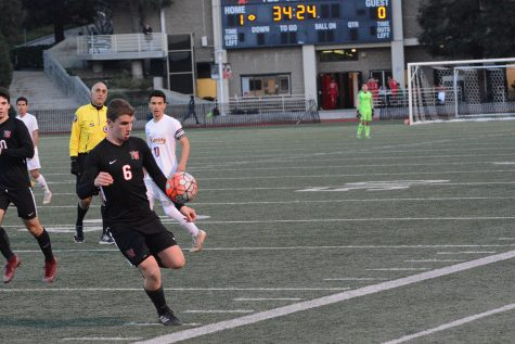 SMASHER ASHER: Midfielder Asher Vogel '19 gains control of the ball against Bishop Alemany High School on Jan. 30. Photo Credit: Luke Casola/Chronicle.