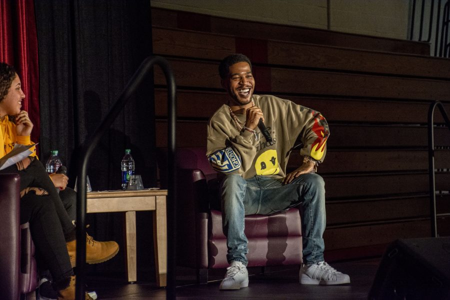 """Scott """"Kid Cudi"""" Mescudi speaks to students about mental health in an all-school assembly hosted by the Black Leadership Awareness and Culture Club in Taper Gym. Credit: Ryan Albert"""
