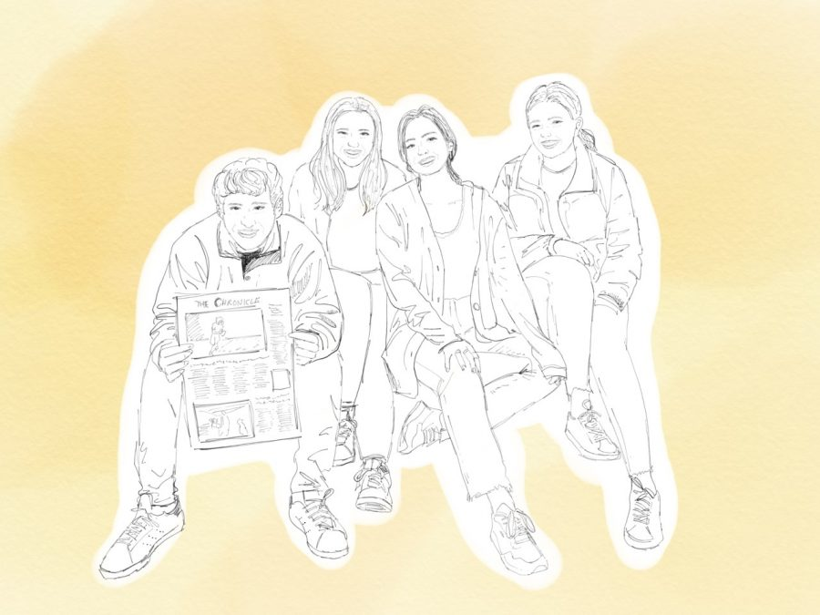 (Left to right) Chronicle Digital Managing Editor Lucas Gelfond '19, Editor-in-Chief Sophie Haber '19, Presentations Managing Editor Kendall Dees '19 and Print Managing Editor Alex Goldstein '19 sit outside of Weiler Hall on their favorite steps, where they spent hours coming up with article pitches and page concepts. Illustration by Samantha Ko