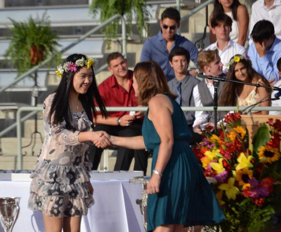 Hui Nan Eunice Kiang '20 accepts her ring during the Senior Ring Ceremony. Credit: Sandra Koretz/Chronicle