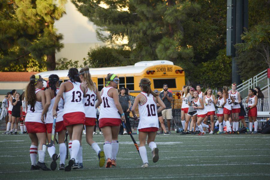 The squad celebrates after Captain and Midfielder Rachel Brown '21 scores the team's second goal of the game against Glendora High School in a 4-0 win on Senior Night. Credit: Lucas Lee/Chronicle