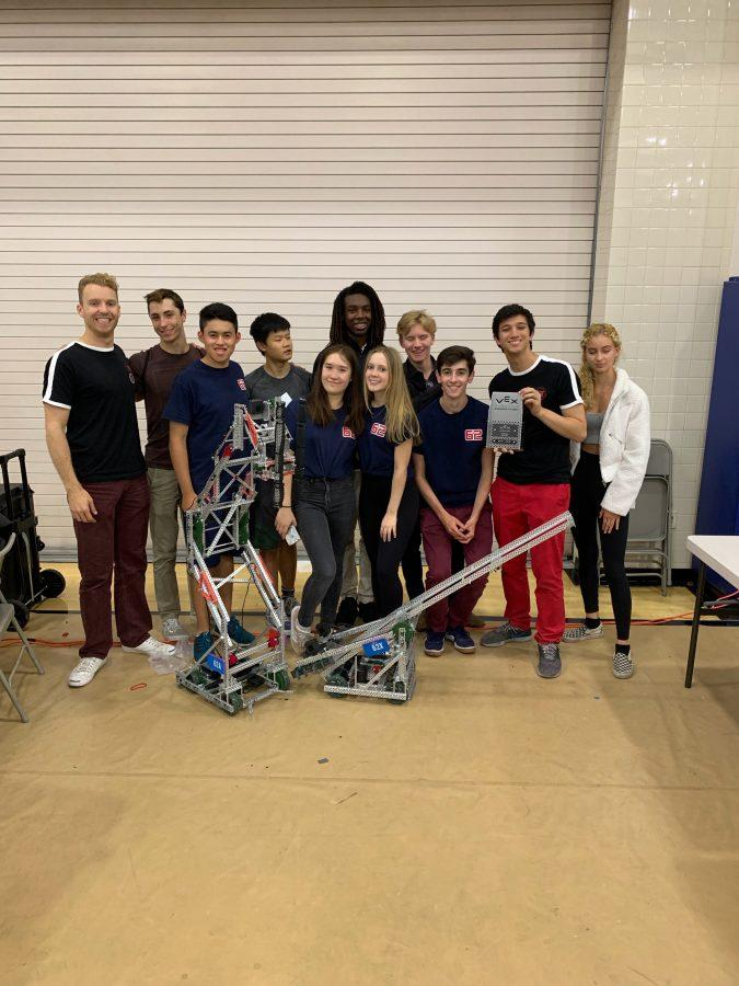 Subteams 62A and 62X pose for a photo with their two robots at Arnold Beckman High School on Sept. 21. Subteam 62X received the Design Award, setting the record for the quickest qualification for the VEX California State Championship. Credit: Published with permission of Katie Mumford
