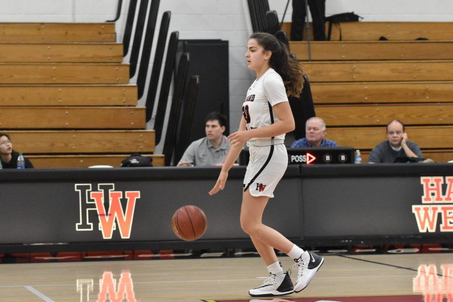 Guard Krista Semaan '21 sets up the offense in a 75-31 win against La Canada High School in the Brentwood Invitational. Credit: Jaidev Pant/Chronicle