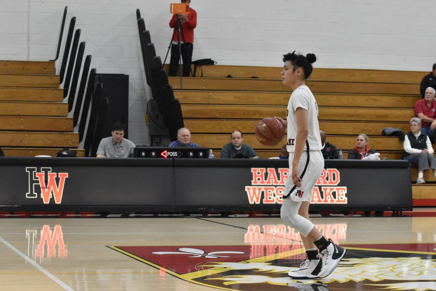Guard Melissa Zozulenko '21  surveys the frontcourt in a 75-31 win against La Canada High School in the Brentwood Invitational. Zozulenko finished with 13 points against West Torrance High School. Credit: Jaidev Pant/Chronicle