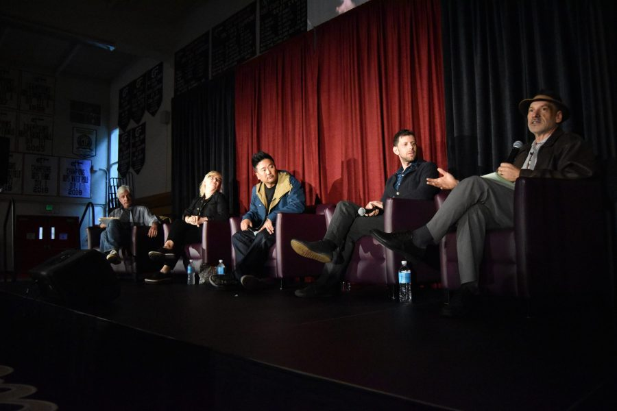 Co-founder of CicLAvia Aaron Paley, right, speaks about enhancing the cultural and musical scene in Los Angeles, as the four other panelists listen. Credit: Crystal Baik/Chronicle