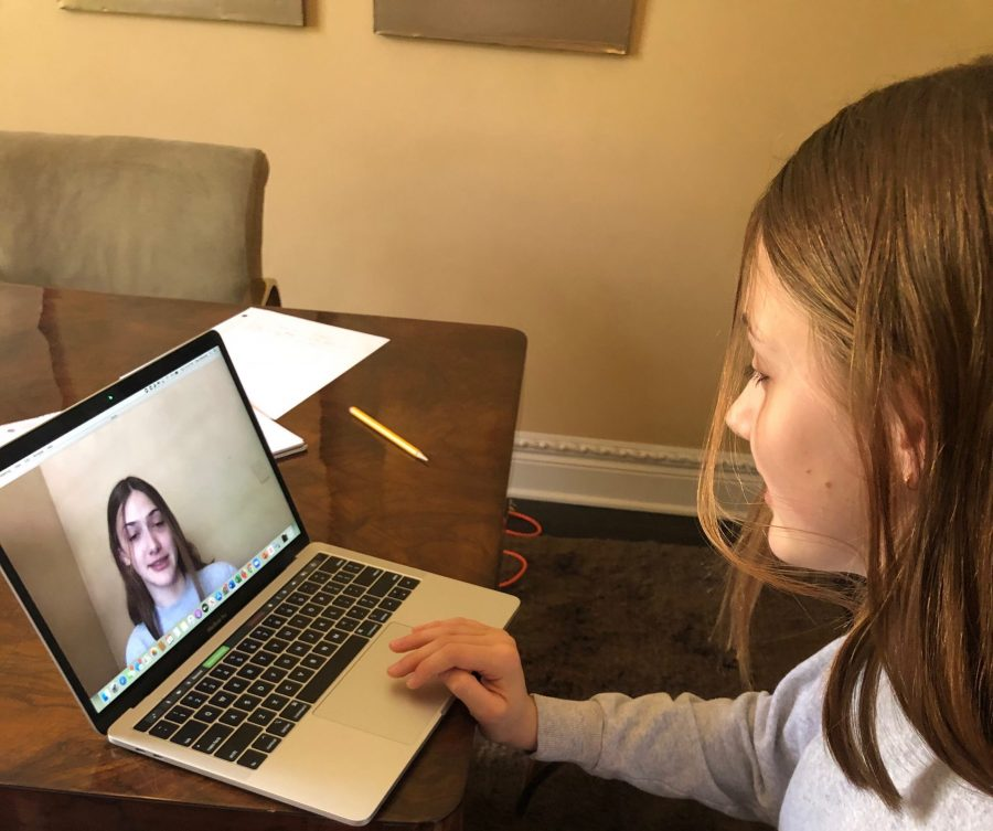 Cleo Maloney '21 rehearses her campaign speech on Zoom before the Head Prefect Election on May 5. Printed with permission of Cleo Maloney