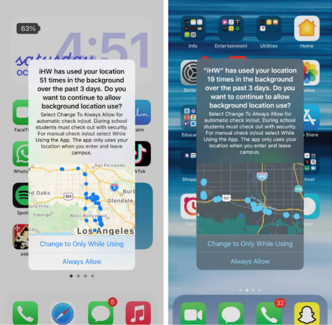 The new iPhone iOS update notifies students when iHW is using their locations, though the administration said it does not look at this data. Printed with permission of Rohan Madhogaria and Allegra Drago