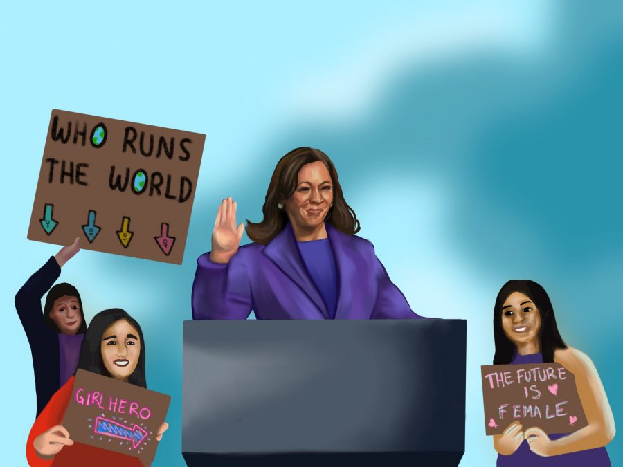 The inauguration of Kamala Harris as Vice President allowed for reflection within the student community. Illustration credit: Alexa Druyanoff/Chronicle