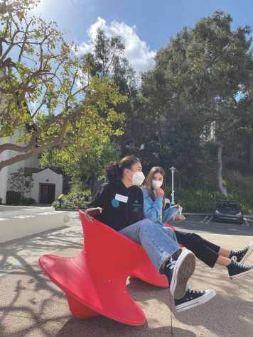 In between online classes on campus, Chloe Fribourg '23 and Lauren LaPorta