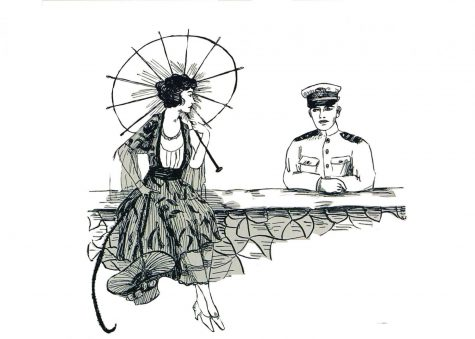An illustration included in the Society section of the Westlake School for Girls 1919 newspaper, the Vox Puellarum, which depicts a soldier and a Westlake student.