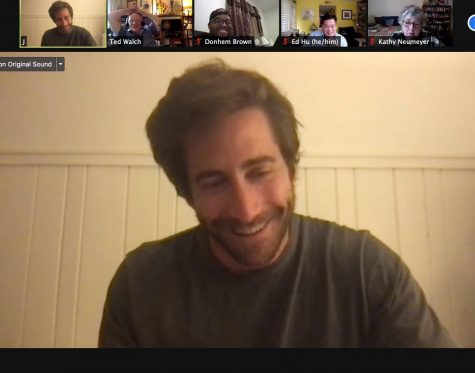 Gyllenhaal virtually answers questions from Cinema Studies teacher Ted Walch.