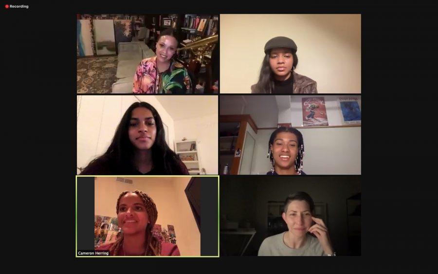 Novelist Jesmyn Ward (top left) speaks with Black Leadership and Culture Club (BLACC) leaders Sirus Wheaton '19, Makeda Neavill '21, Cameron Herring '21 and Asian Students in Action (ASiA) member Neha Tummala '23.