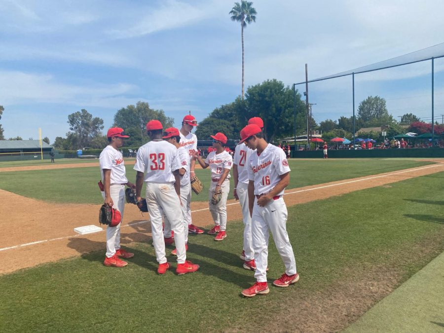 Just after winning the semi-final game against Orange Lutheran, the baseball squad joins together.
