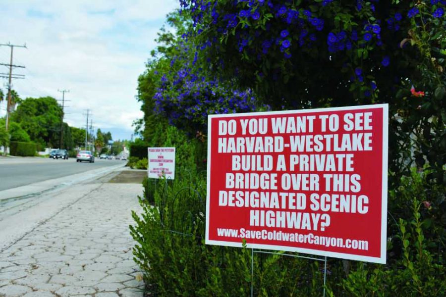 Area signs protesting the Harvard-Westlake Upper Schools proposed parking structure project have been disappearing in recent months. Credit: Noa Schwartz/Chronicle