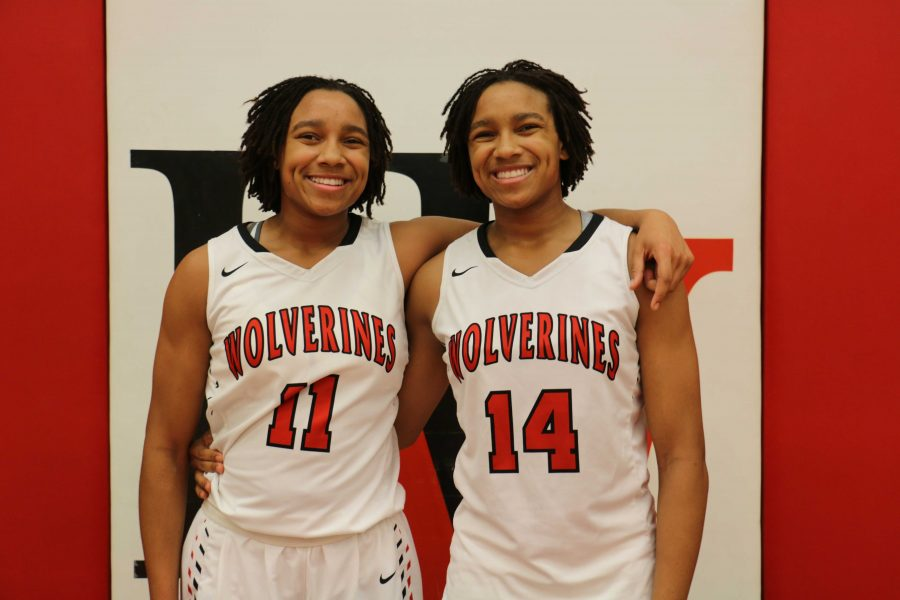 Jayda and Jayla Ruffus-Milner are identical twins both playing on the girls' varsity basketball tema. Credit: Pavan Tauh/Big Red