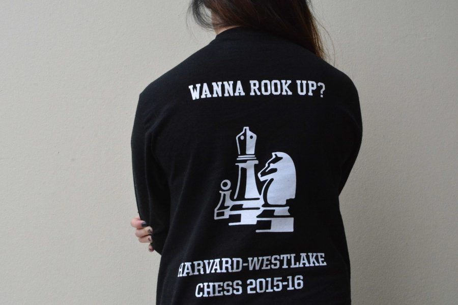 Sharon Chow '16 models her chess club shirt with the most popular phrase: