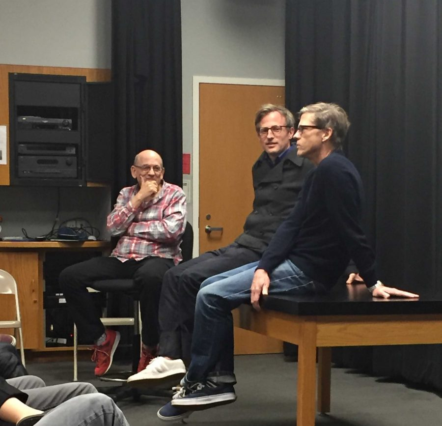 Cinema studies teacher Ted Walch listens to director Spike Jonze and editor Eric Zumbrunnen discuss the making of their movie