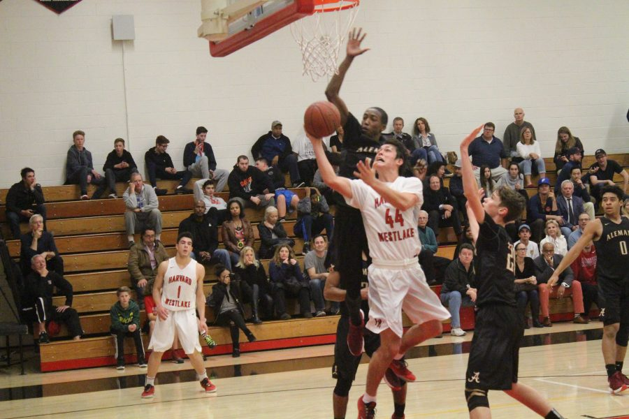 Point guard Wolfgang Novogratz 16 attempts to make a layup despite the defense from Earnie Sears 17.