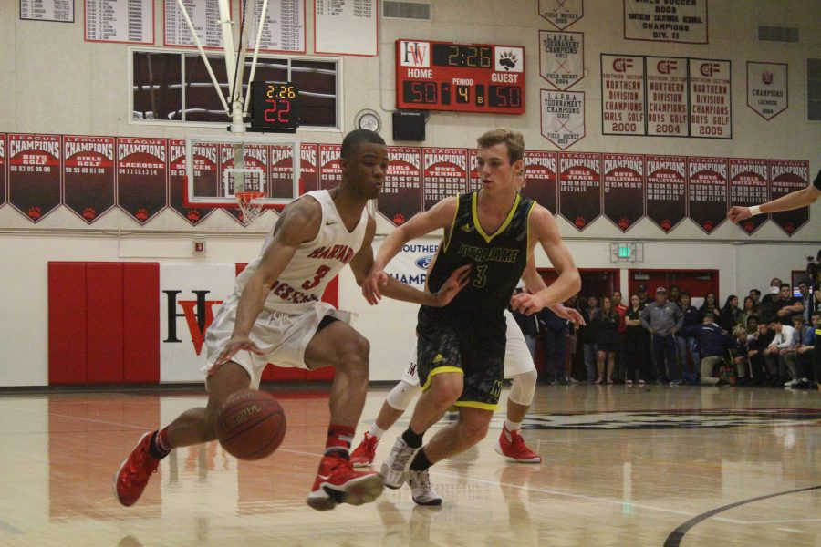 Cassius Stanley 19 attempts to dribble by Notre Dame guard Sam Holtze 17 during the fourth quarter of the game.  Credit: Cameron Stine 17/Chronicle