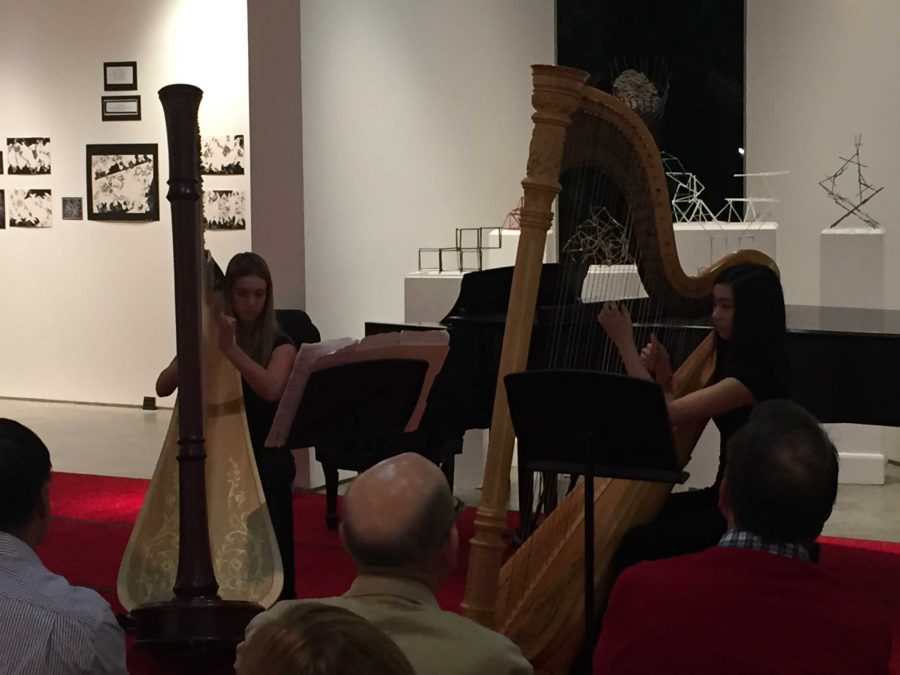 Students play harps in the Winter Chamber Concert. Credit: Ellis Becker/Chronicle