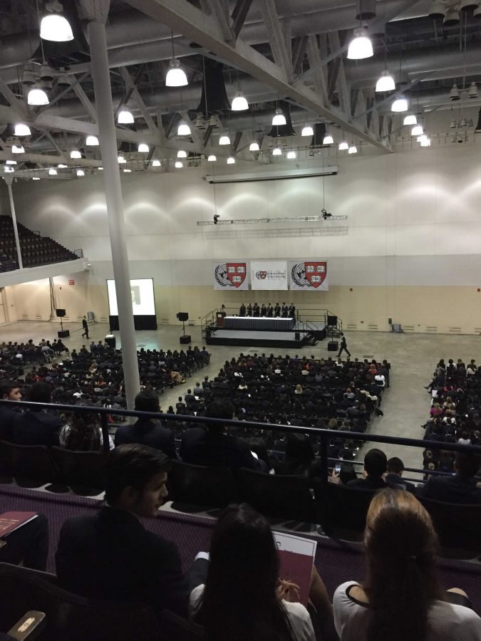 Students attend an assembly where they listened to Harvard University speakers before the competition. Printed with permission of Carolyn Hong