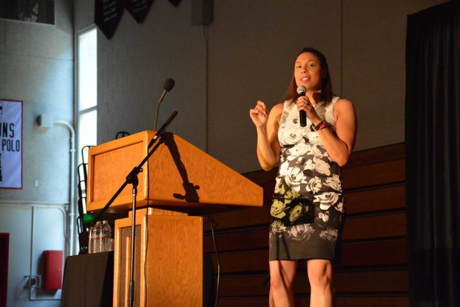 USC Professor Ange-Marie Hancock speaks to students at an all-school assembly Monday. Credit: Teresa Suh/Chronicle