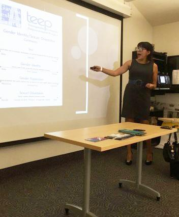 Diana Juarez speaks to the Gender Studies class about her work as an advocate for the LGBTQ community. Credit: Maddy Daum/Chronicle