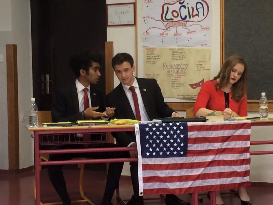 Liz Yount '17 prepares to give a speech in a debate round in Slovenia. Yount debated at the tournament with two other high schoolers from other schools around the United States. Printed with permission of Cindi Timmons