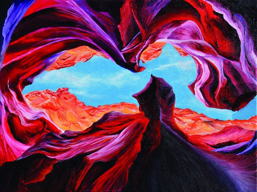DARE TO DREAM: Nicole Araya '16's painting for the Justin Carr Dare to Dream auction shows a surrealist landscape of Antelope Canyon in Arizona. Araya submitted the piece for her portfolio. Printed with permission of Marianne Hall