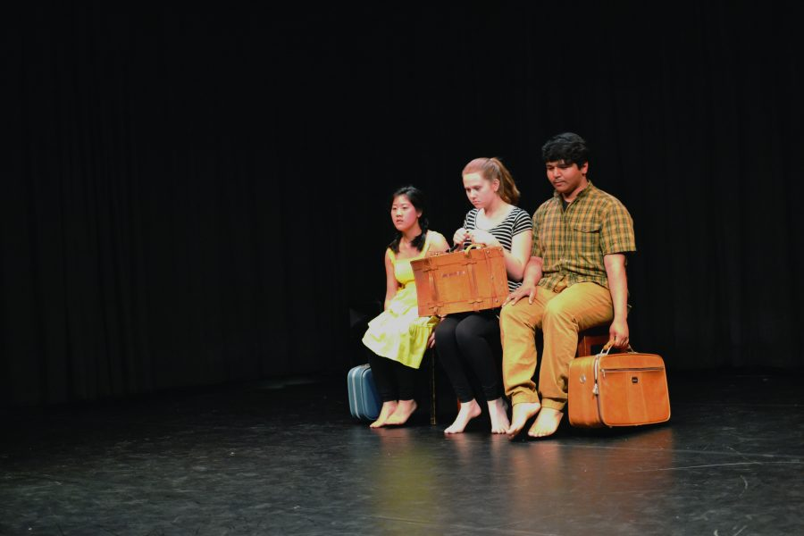 LET'S DANCE: Giselle Chu  '18, Alexa Frandzel '18 and Daniel Varela '18 portray a story through their choreography. They are enrolled in an Art of Dance class, and their piece was a part of the April 19 showcase in the Chalmers Dance Studio. Credit: Sabrina de Brito/Chronicle