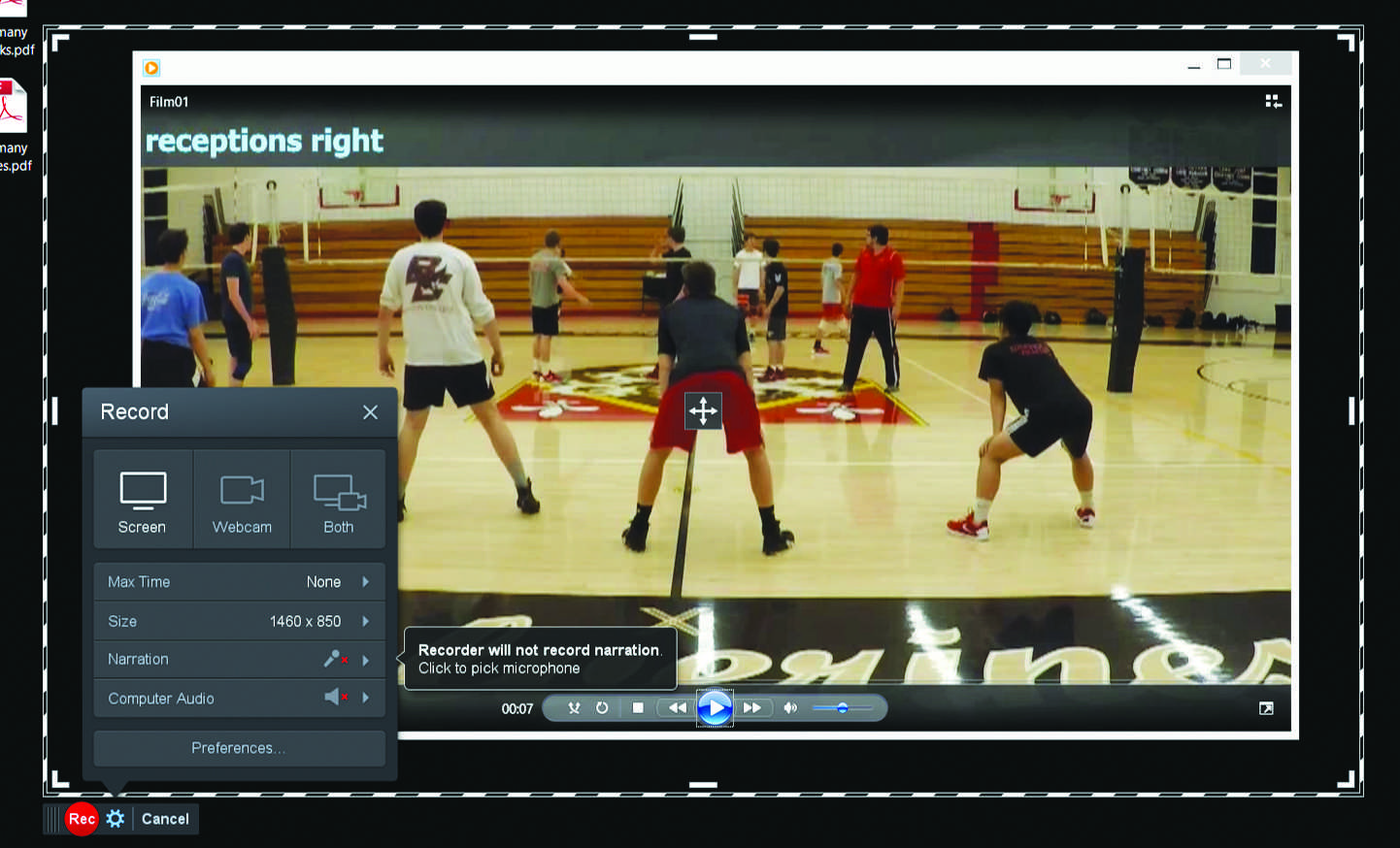 """The boys' volleyball team uses software called """"Screencast-o-matic"""" to review and analyze film. Printed with permission of Ryan Casey"""