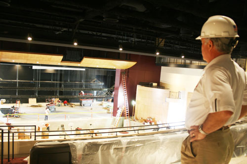 Vice President of School John Amato looks over the construction of Bing Auditorium in 2008. Amato has been an integral part of the middle school modernization project and the plans for a new parking garage. Credit: Chronicle Archives