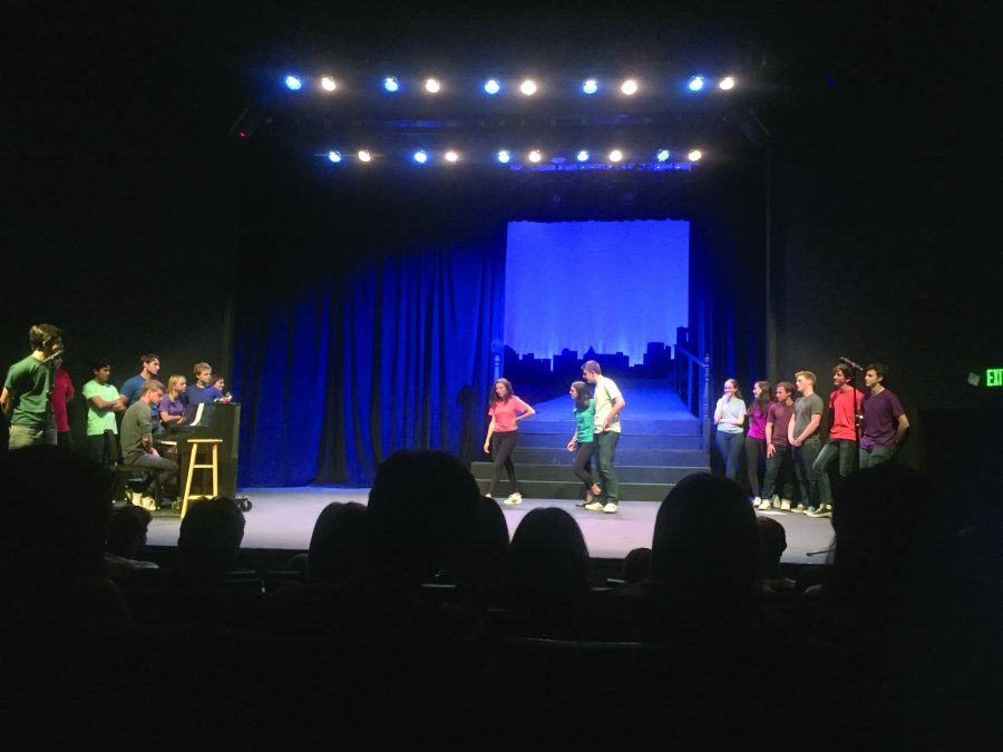 THE WORLD OF IMPROVISATION: Shelby Weiss '16, Sabrina de Brito '17 and Joe Levin '17 perform in a skit. The students are members of the Scene Monkeys, an improvisation group that performed two shows in the Rugby Auditorium on May 13.  Credit: Katie Plotkin/Chronicle