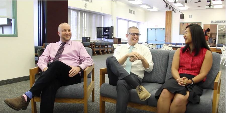 Upper School Deans Adam Howard, Kyle Graham and Jamie Chan sit down with the Chronicle for an interview in 2014. Credit: Nicki Mansouri/Chronicle