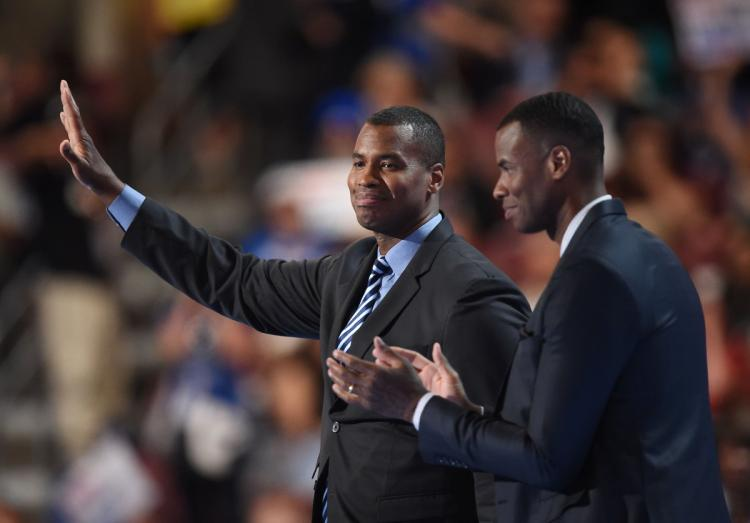 Jason+Collins+%2797+%28left%29+and+his+twin+Jarron+Collins+%2797+%28right%29+waving+after+speaking+at+the+Democratic+National+Convention+in+support+of+Hillary+Clinton.+Jason+became+the+first+openly+gay+professional+basketball+player+in+2013+and+praised+Clinton+for+her+support+of+LGBT+issues+in+his+speech.