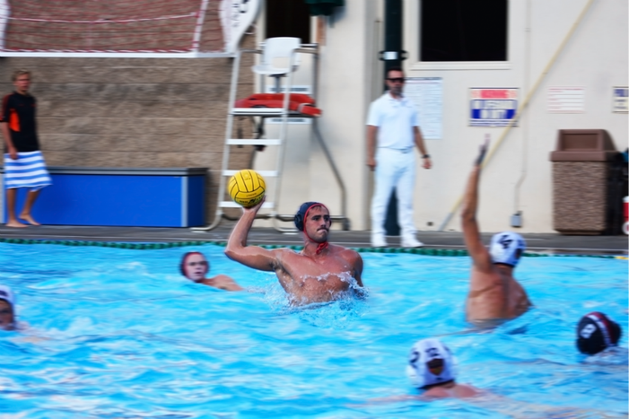 Ben Hallock '16 attempts to score for a league game. Hallock was Male Athlete of the Year and was selected for the U.S. Olympic Men's Water Polo team. Credit: Henry Vogel/Chronicle